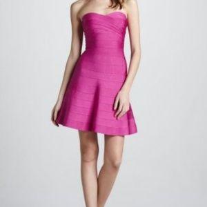 Rose Herve Leger Strapless Shirred Bandage Dress.j